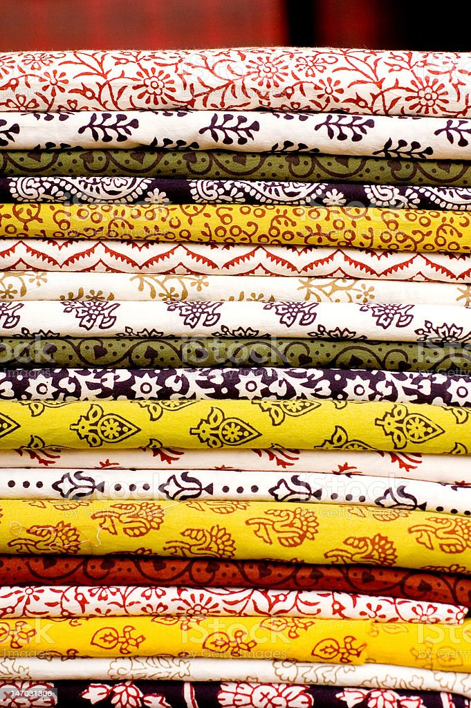 Stack of traditional fabrics royalty-free stock photo