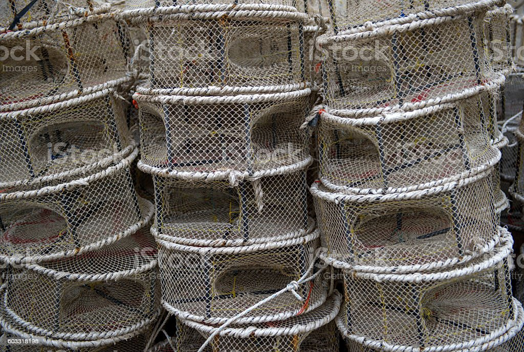 stack of traps for catching fish and shrimp stock photo