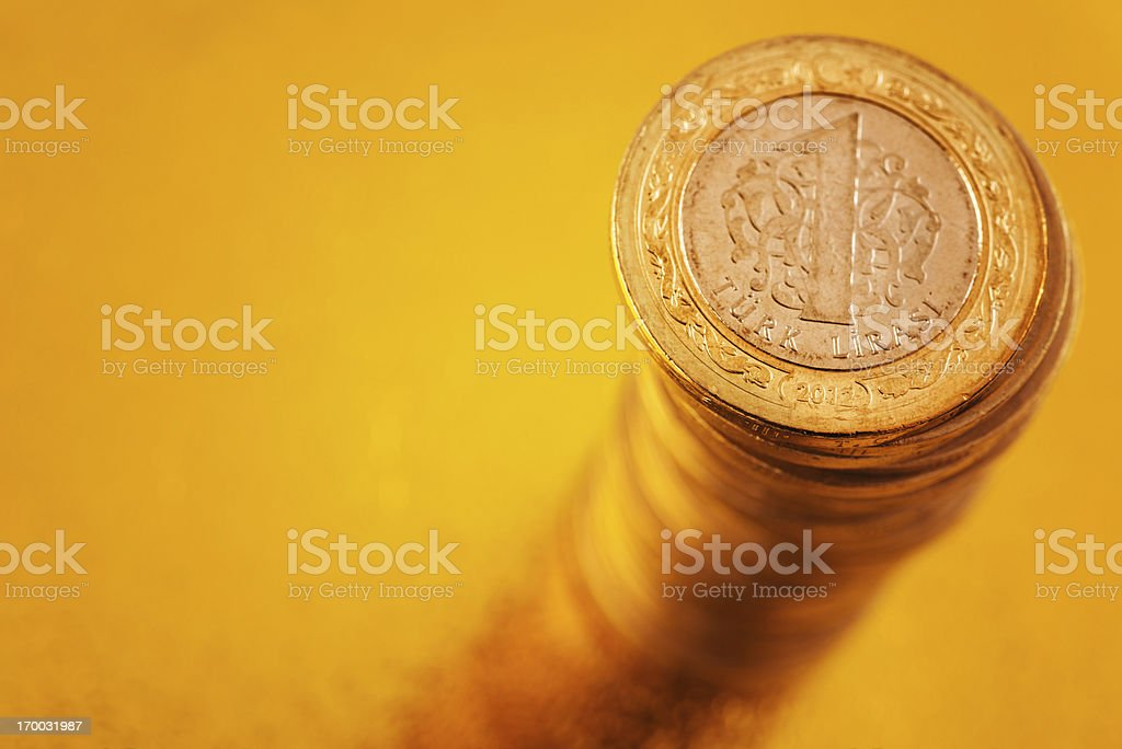 Stack of Turkish Liras royalty-free stock photo