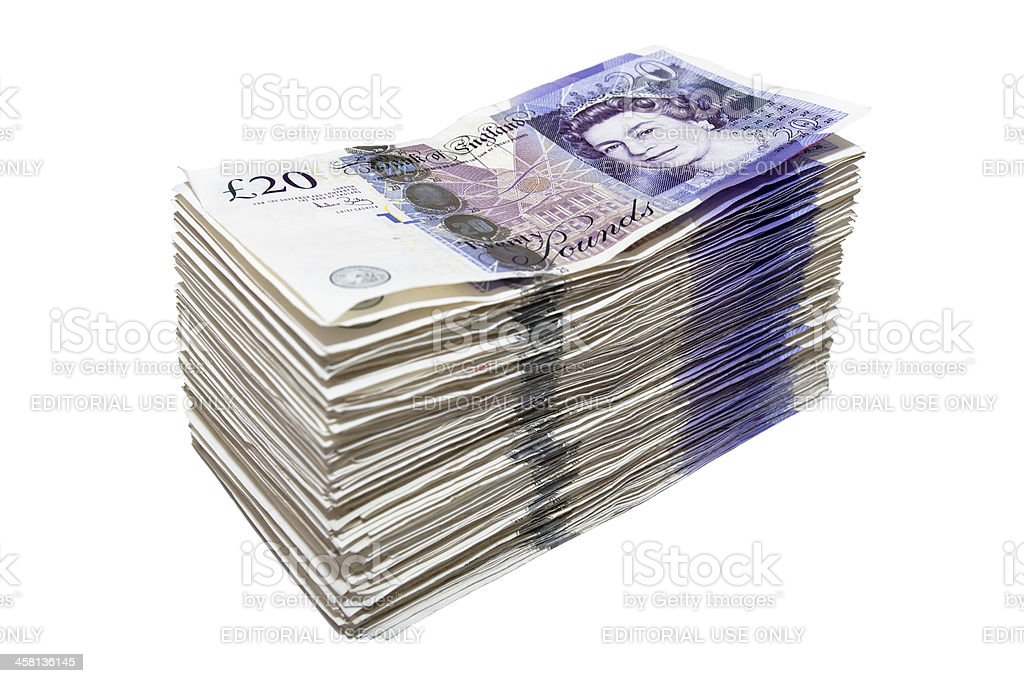 Stack of Twenty Pound Notes stock photo