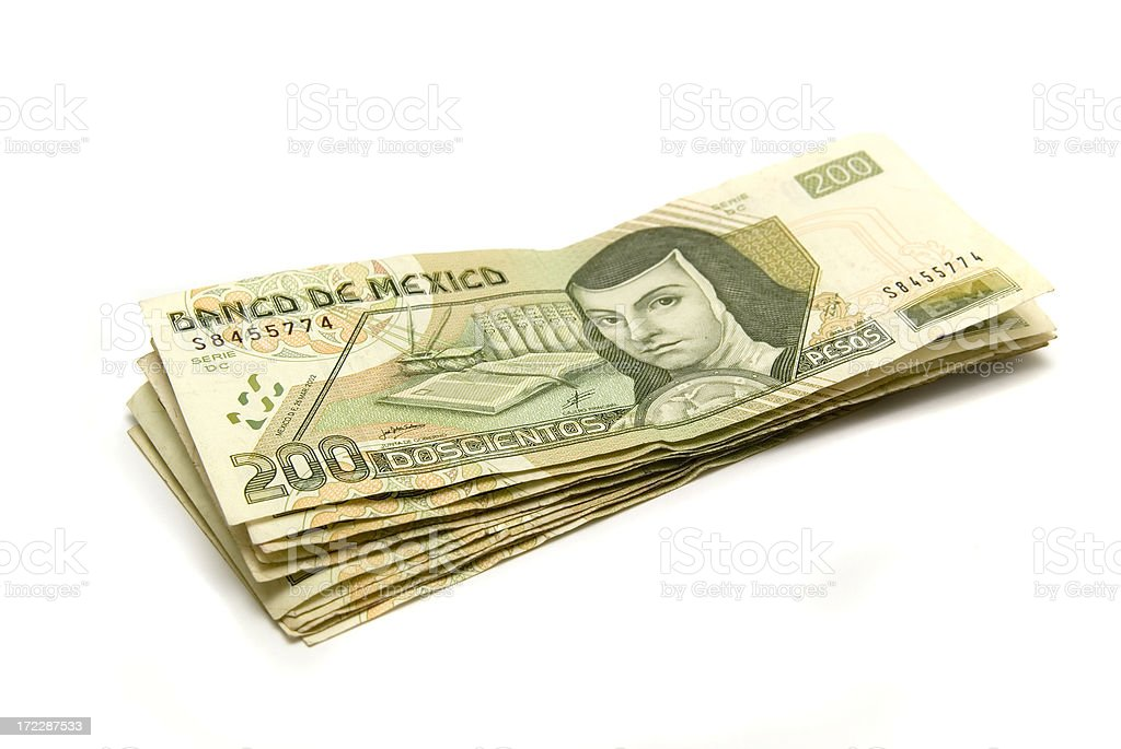 Stack of Two Hundred Pesos stock photo