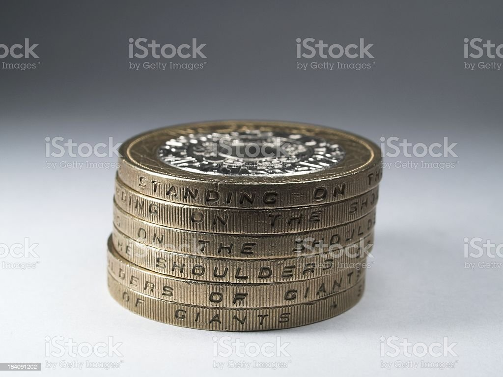 Stack of Two pound coins stock photo