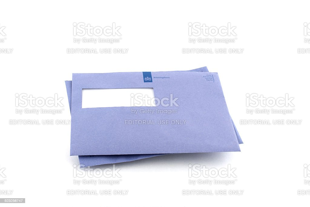 Stack of two typical blue envelopes of the Dutch IRS stock photo