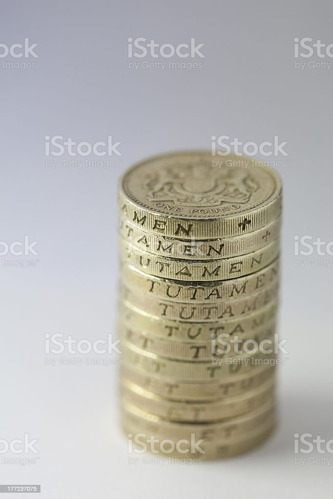 Stack Of UK One Pound Coins stock photo