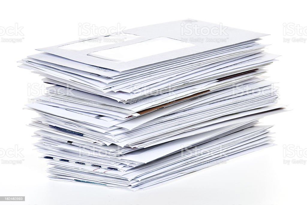 Stack of Unpaid Bills and Envelopes Isolated on White stock photo