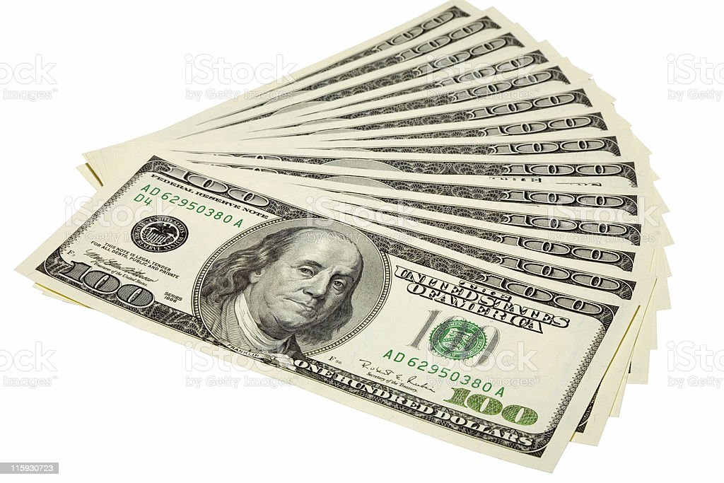 Stack of US $100 bills fanned out isolated on white royalty-free stock photo