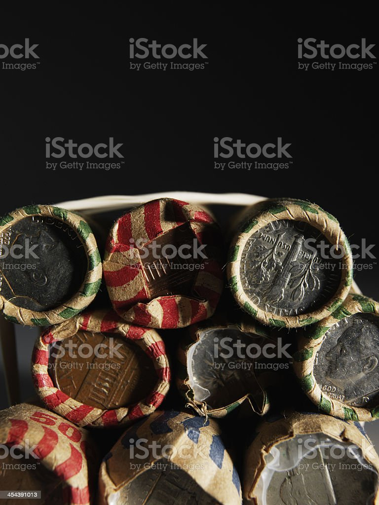 Stack of US Coin Rolls stock photo