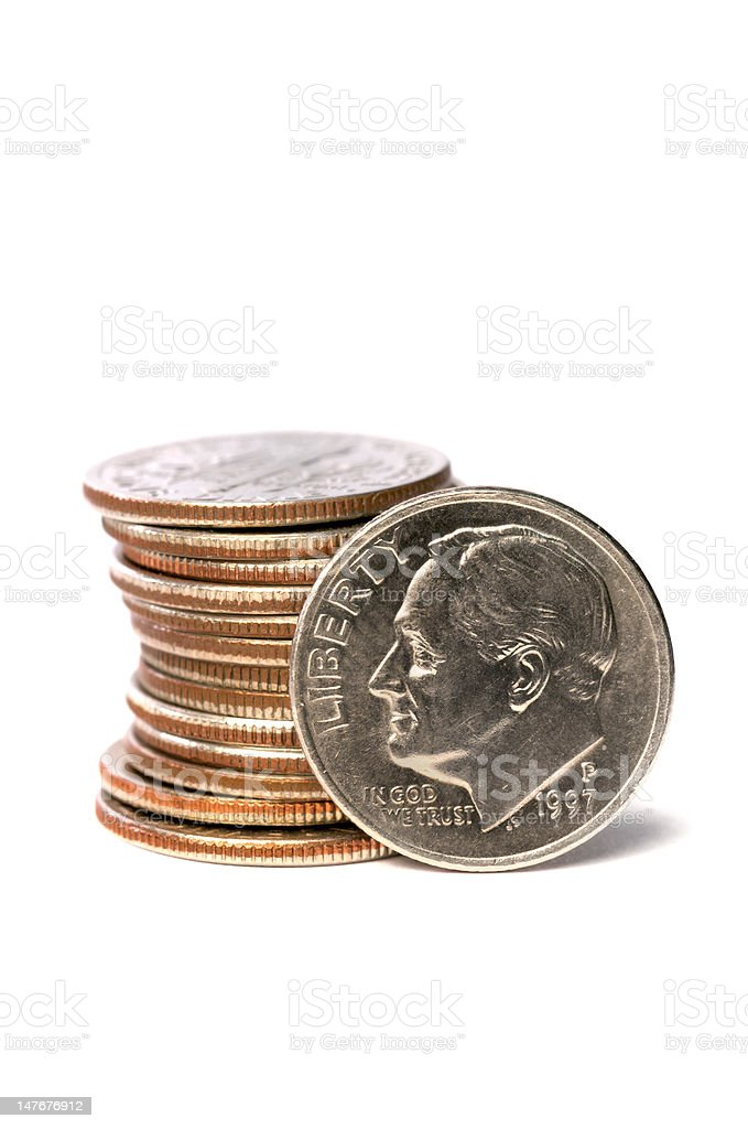 stack of U.S. dimes stock photo