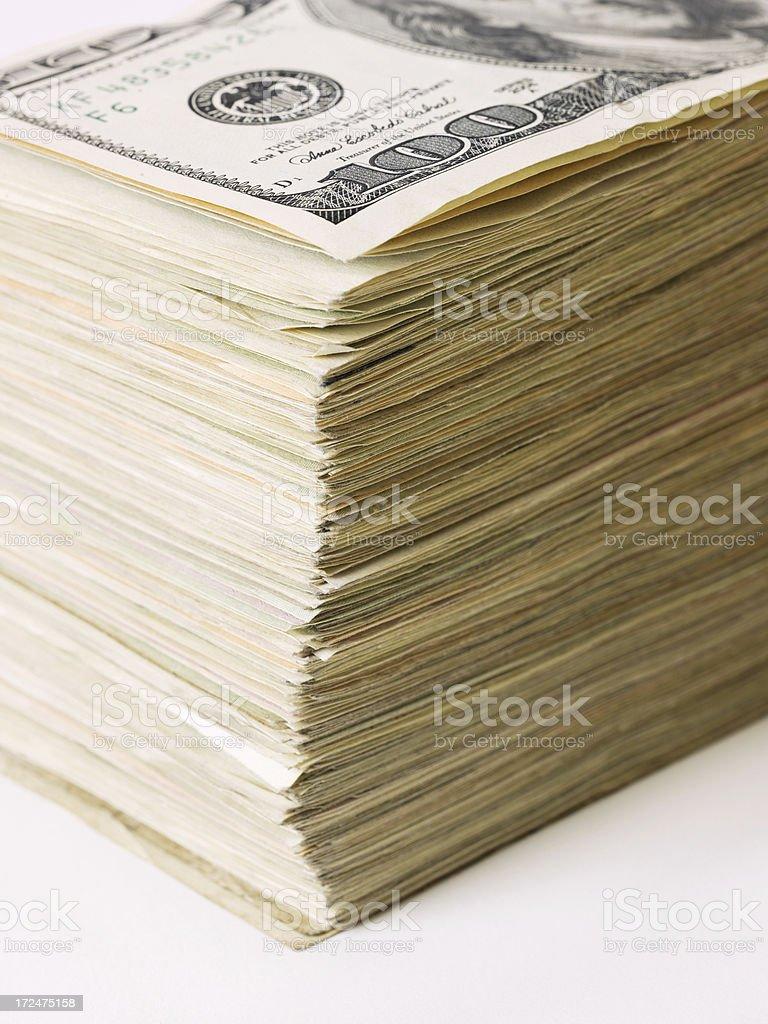 Stack of US Dollar Banknotes royalty-free stock photo