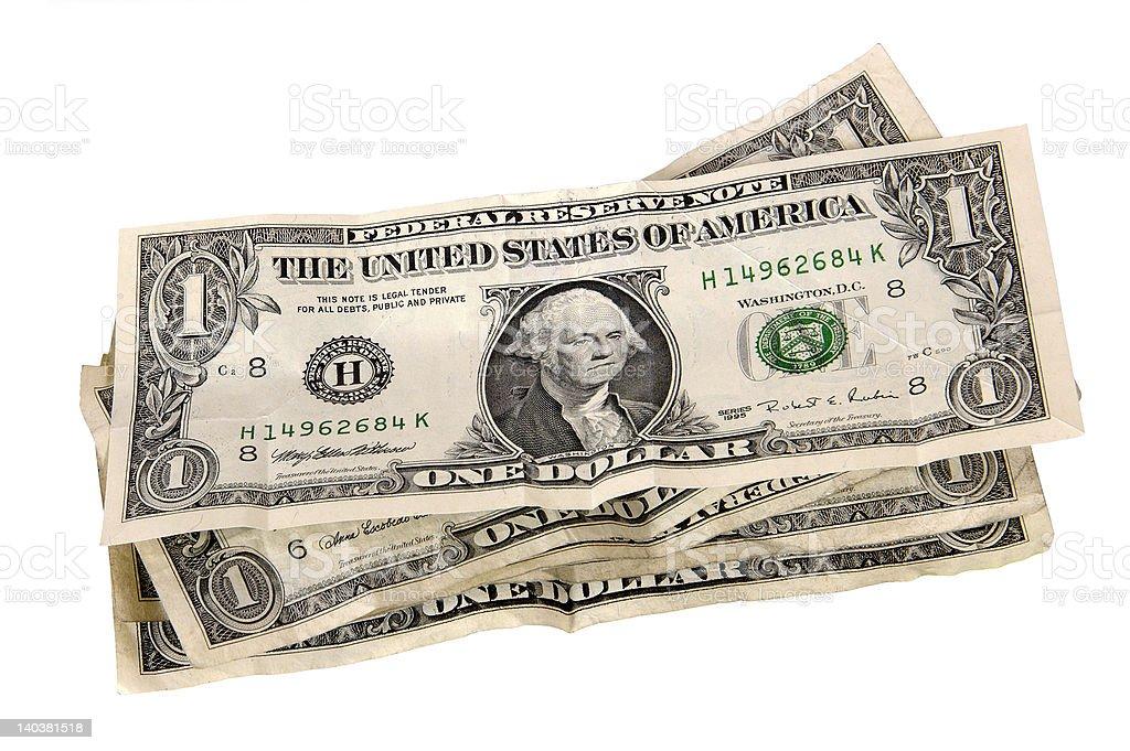 stack of US dollar bills stock photo