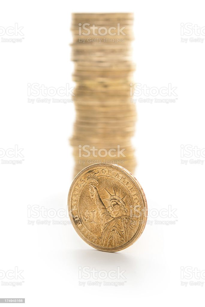 Stack of US dollar coins royalty-free stock photo