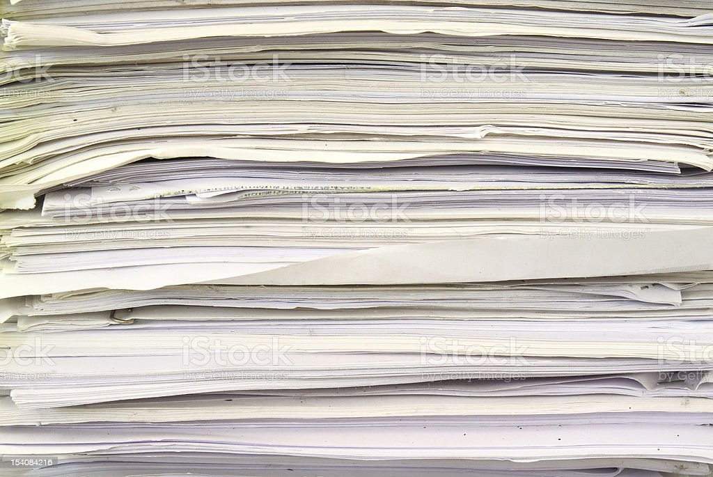 stack of used papers for recycling royalty-free stock photo