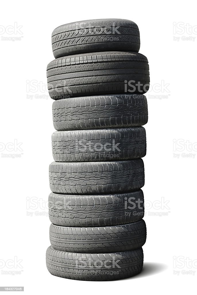 Stack of Used Tires - Isolated w/ Path stock photo