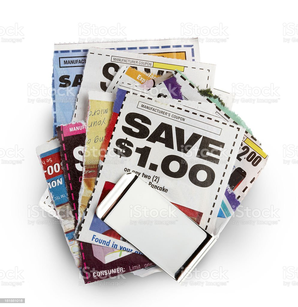 A stack of various coupons to save money stock photo