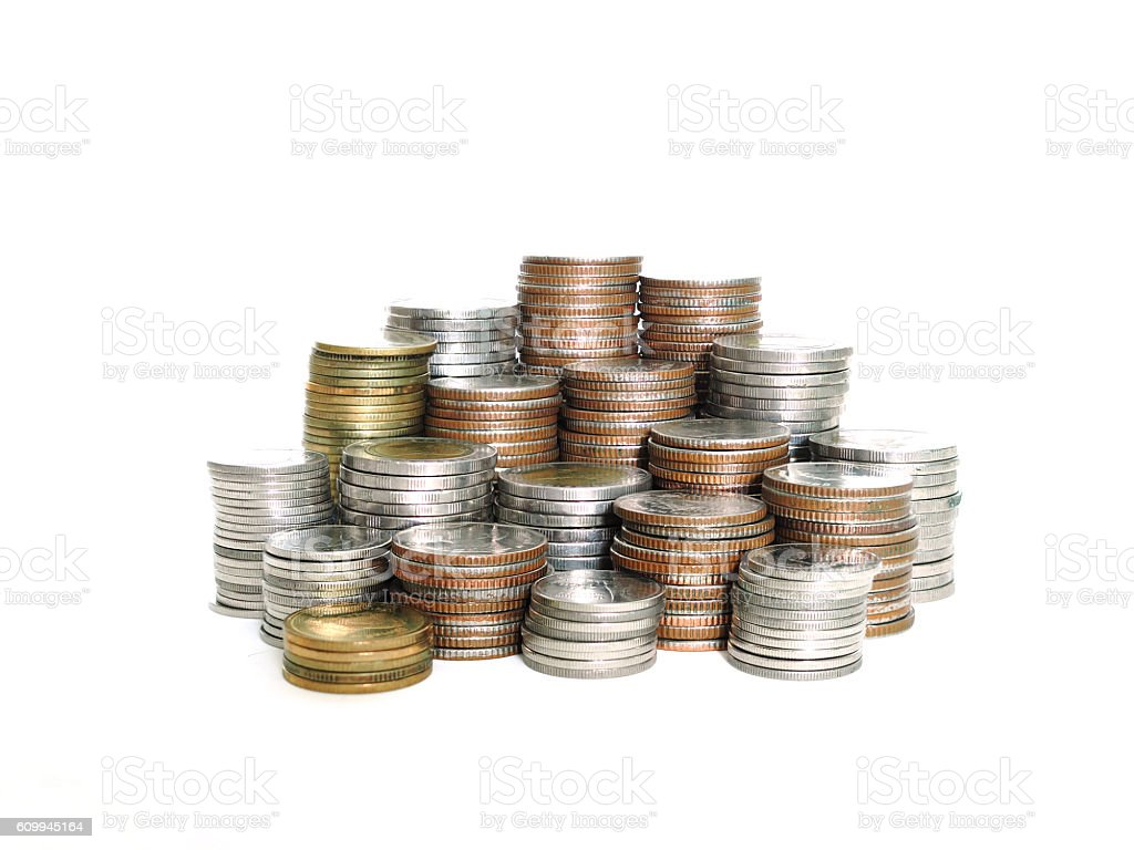 Stack of various Thai baht coins isolated on white background. stock photo