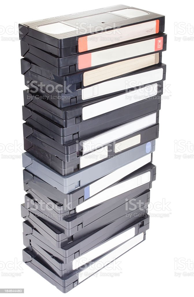 Stack of VHS tapes with white labels stock photo