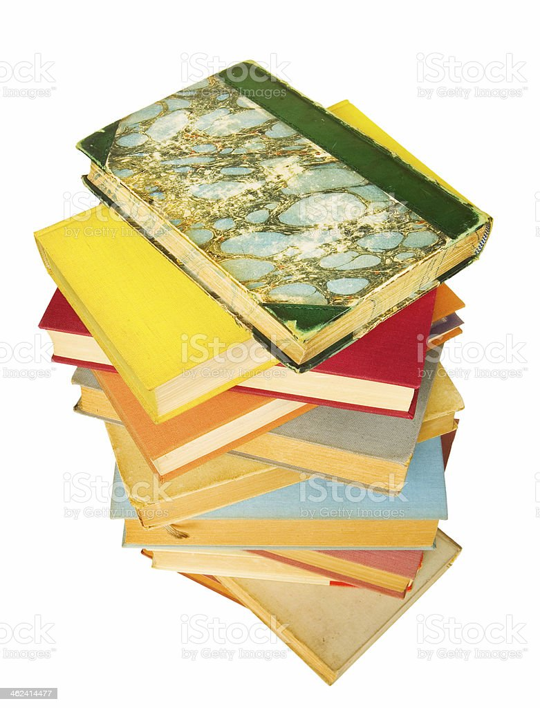 stack of vintage books royalty-free stock photo