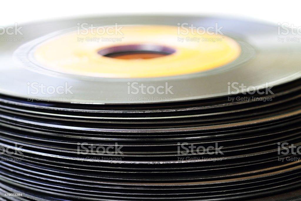 Stack of  vinyl records stock photo