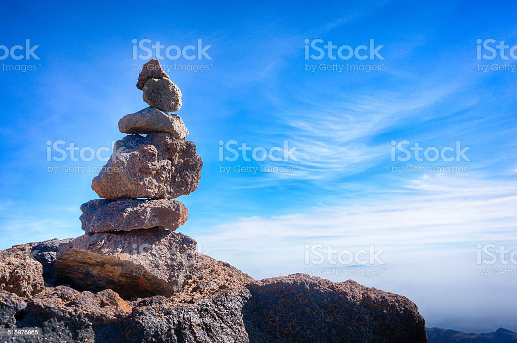 Stack of volcanic rocks stock photo