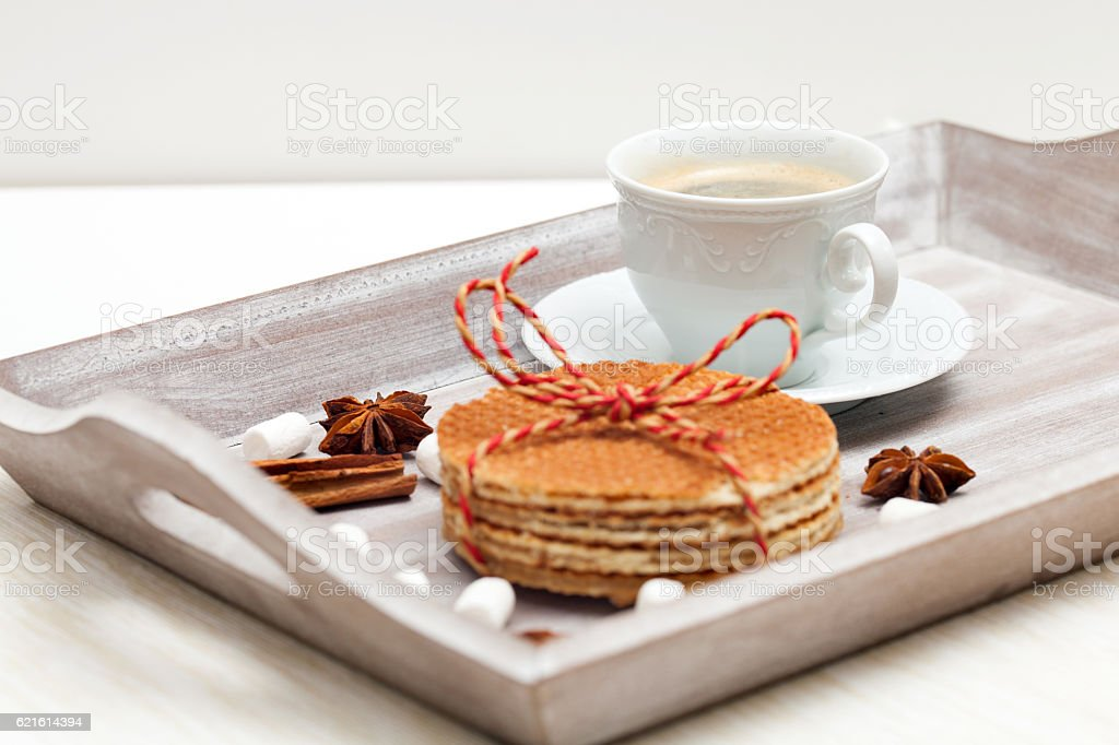 stack of waffles and a cup of coffee stock photo