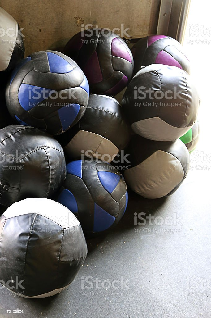 Stack of weighted balls stock photo