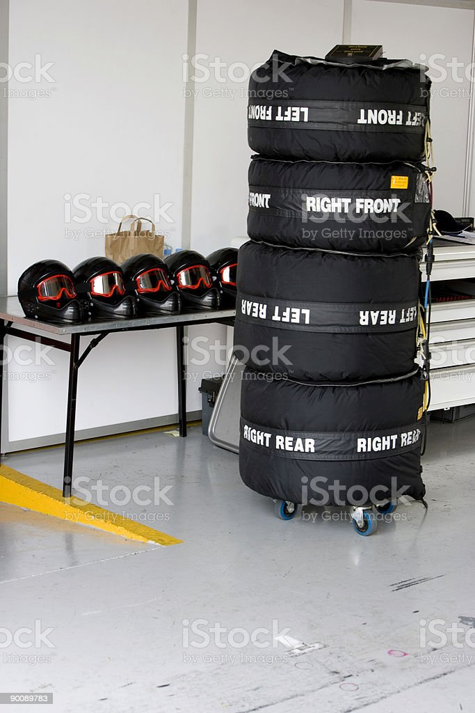 Stack of wet weather racing tyres royalty-free stock photo