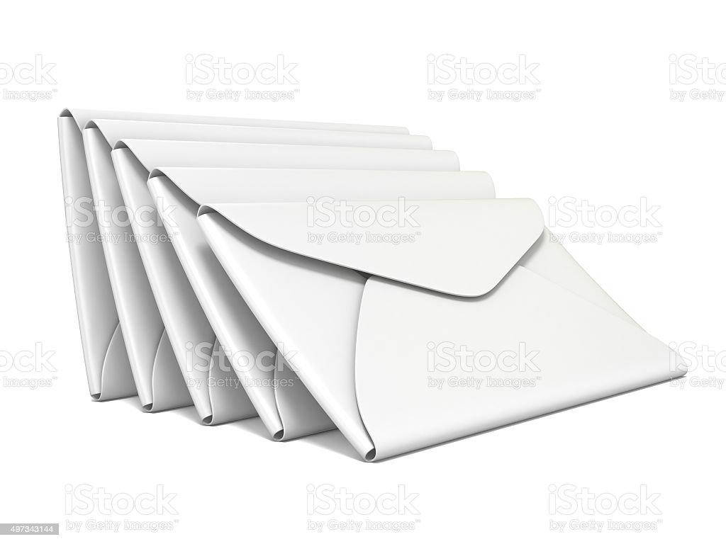 Stack of white, blank envelopes. 3D rendering stock photo