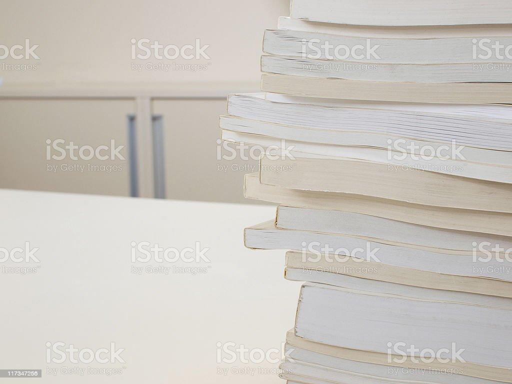 Stack of white books stock photo