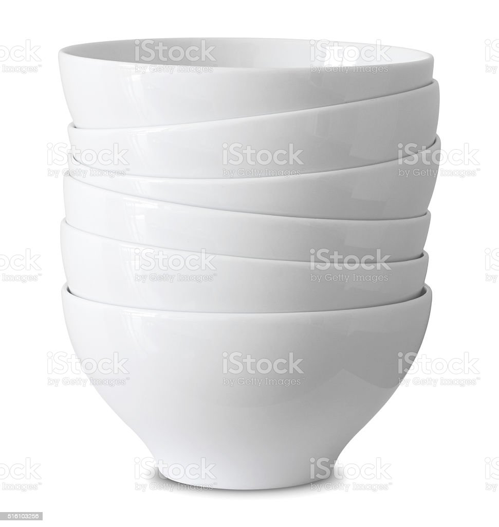 stack of white bowl isolated on white stock photo