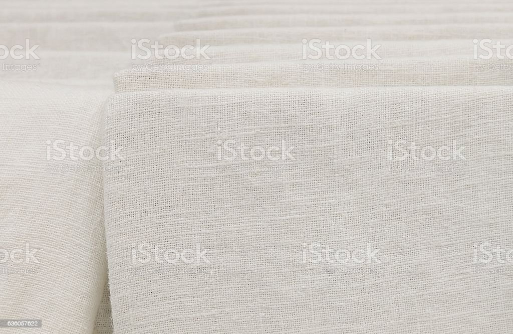 Stack of White Cotton Fabric in Lining stock photo