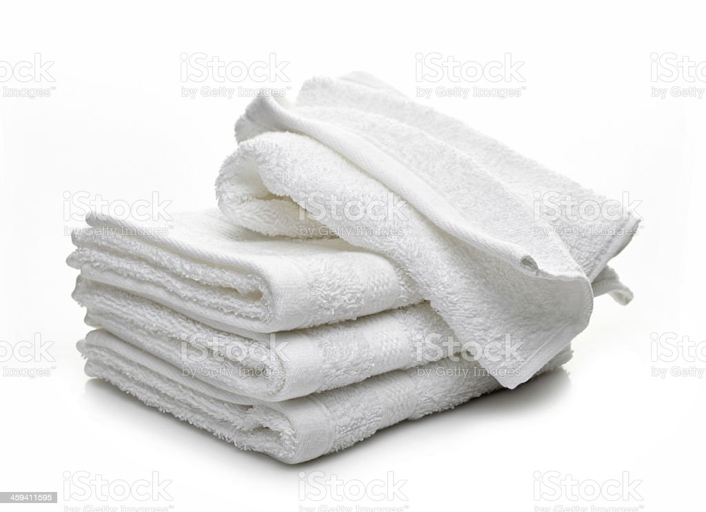 Stack of white hotel towels stock photo