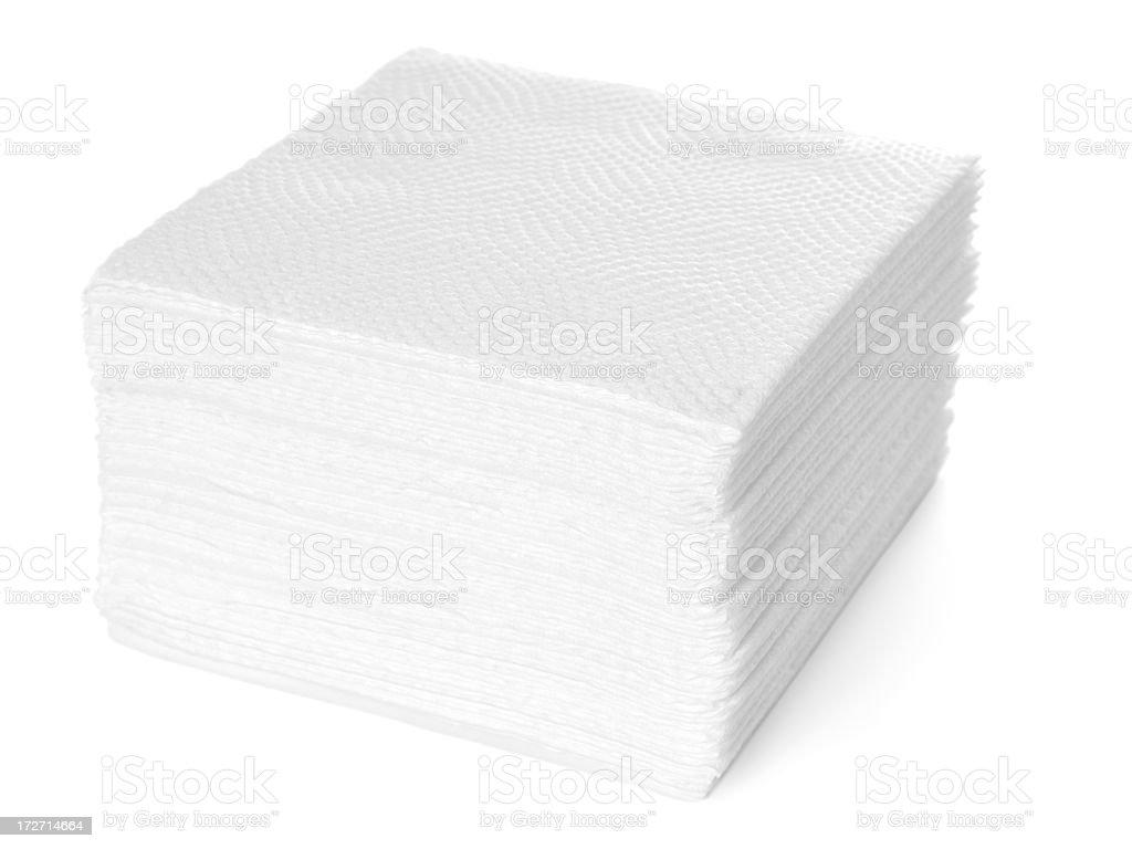 Stack of white paper napkins stock photo