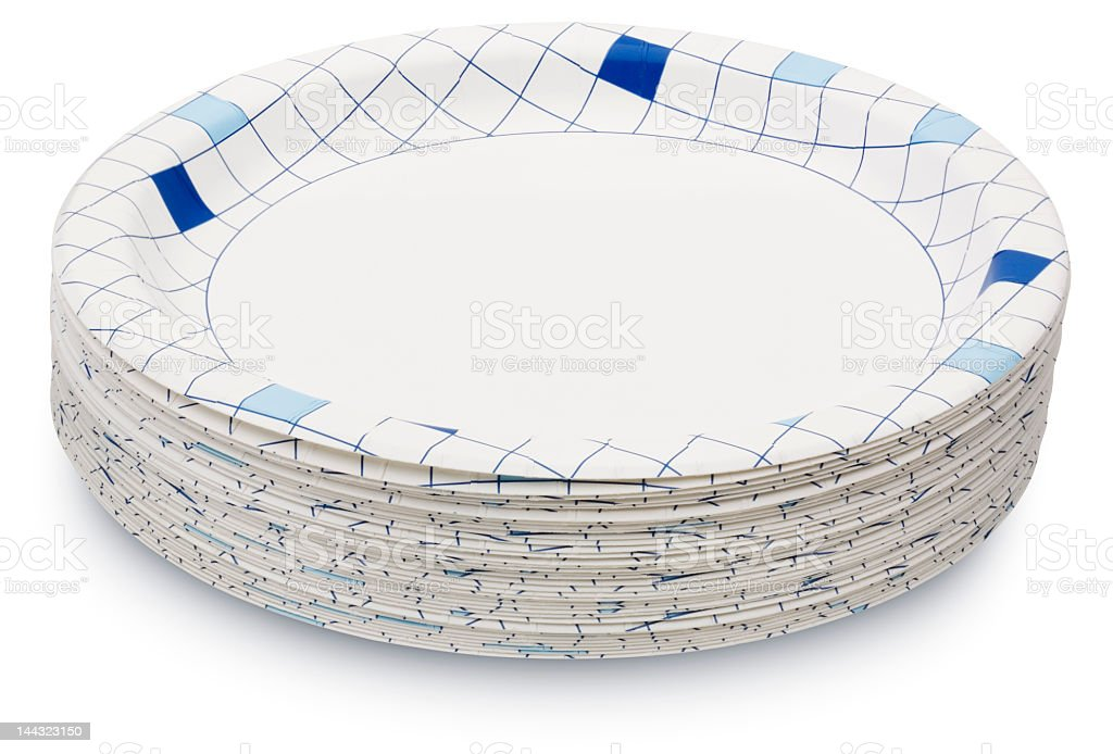 Stack of White Paper Plates with Pattern stock photo