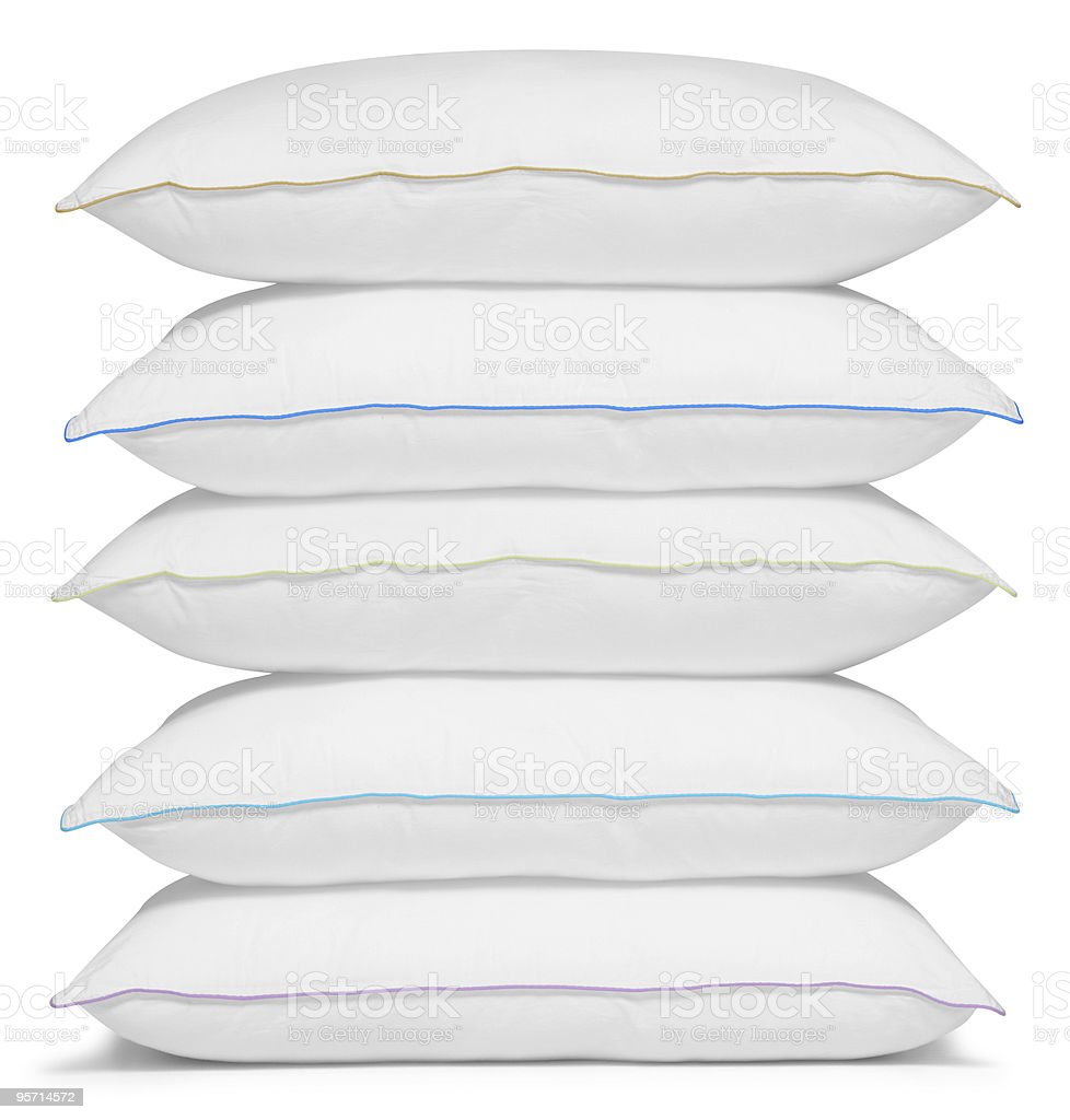 Stack of white pillows. stock photo