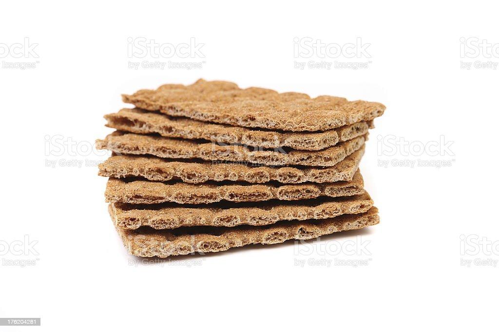 Stack of whole grain crisp bread. royalty-free stock photo