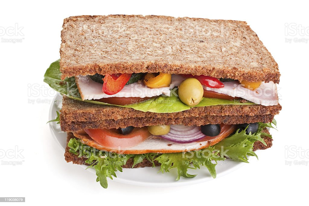 stack of whole wheat bread sandwiches royalty-free stock photo