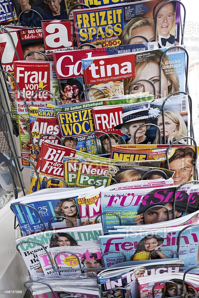 Stack of women magazines stock photo