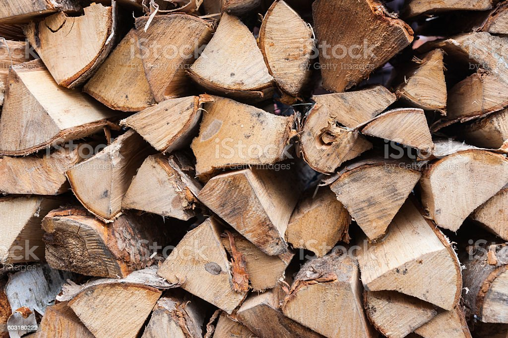 Stack of wood for the house fireplace stock photo