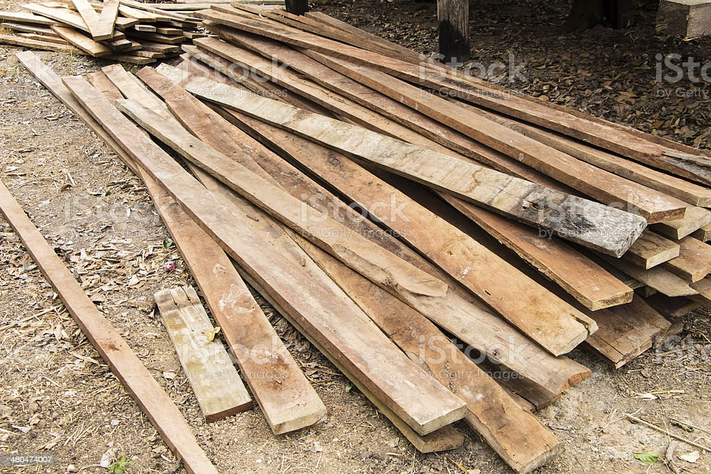 Stack of wooden boards royalty-free stock photo