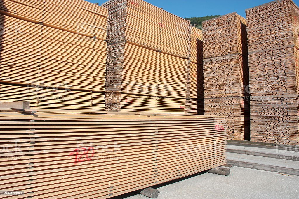 Stack of wooden boards stock photo