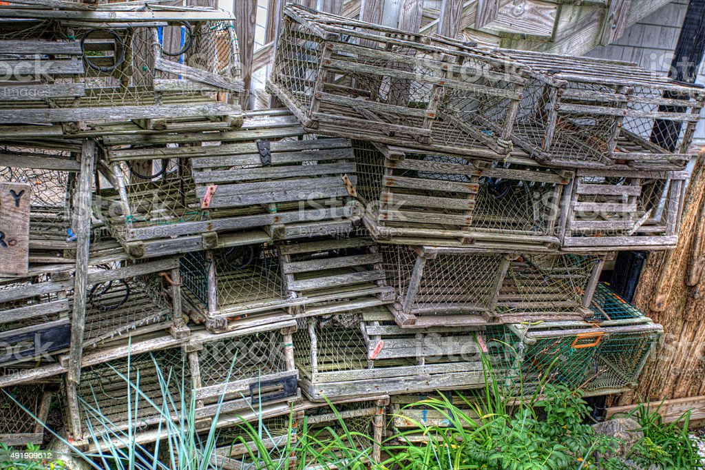 Stack of wooden lobster traps in Maine stock photo