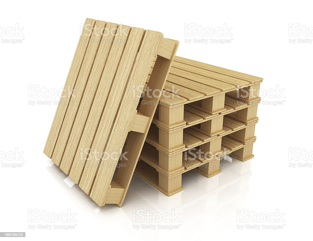 Stack of wooden pallets royalty-free stock photo