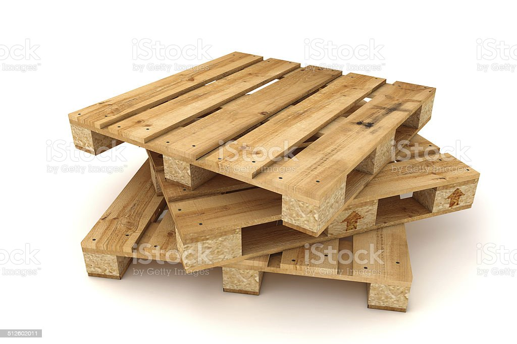 Stack of wooden pallets. stock photo