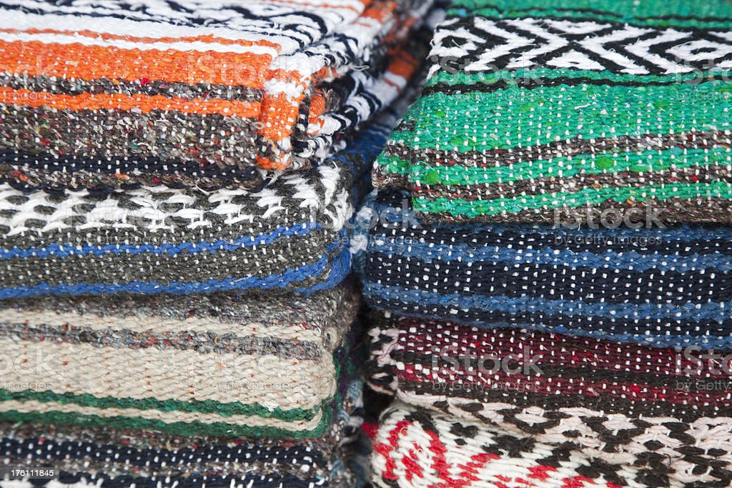 Stack of Woolen Mexican Blankets, Background, Pattern royalty-free stock photo