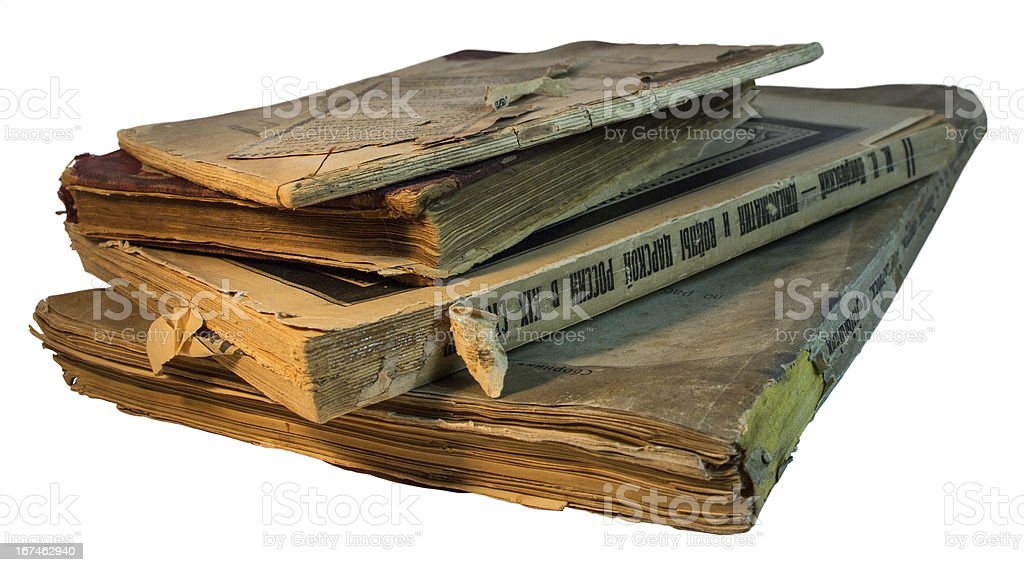 Stack of yellow old and Old-fashioned books royalty-free stock photo