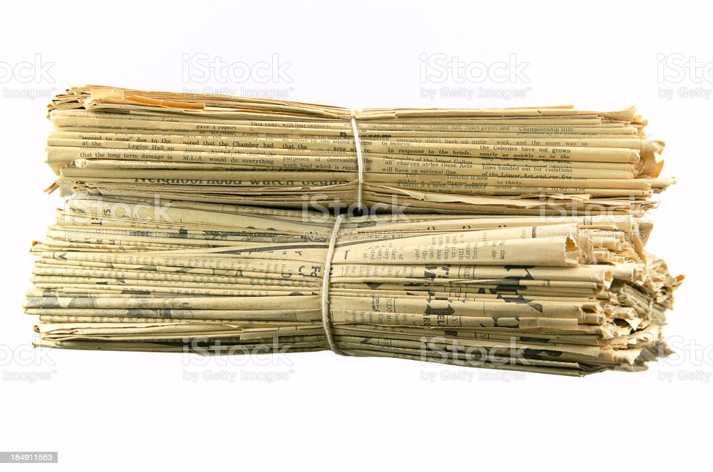 Stack of Yellowed Newspapers royalty-free stock photo