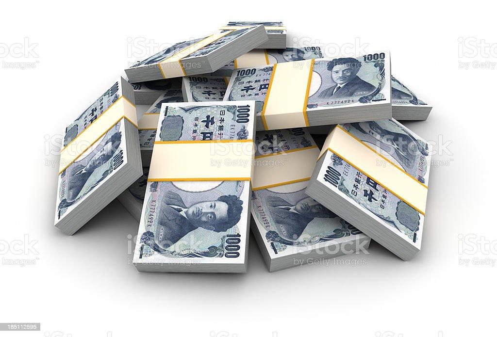 Stack of Yen bills stock photo