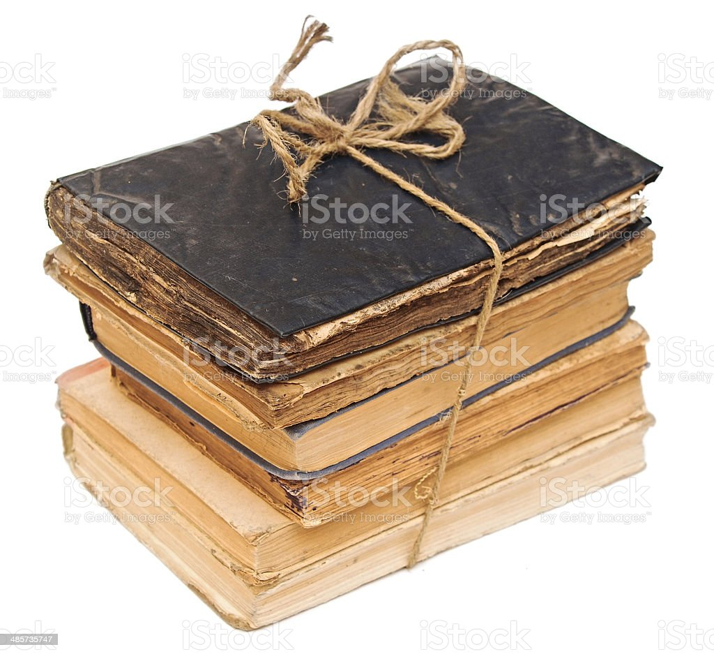 Stack old books on white background. royalty-free stock photo