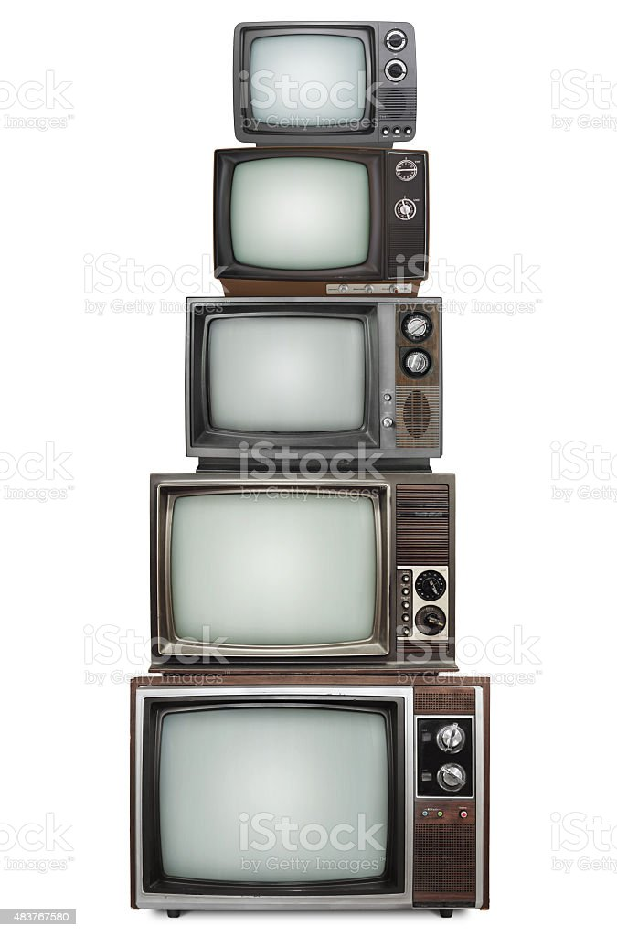 TV stack (with 2 paths) stock photo