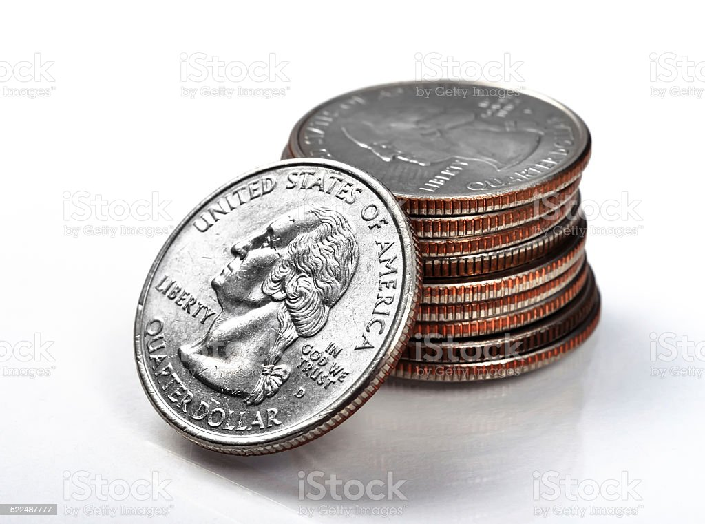 stack quarter coins stock photo